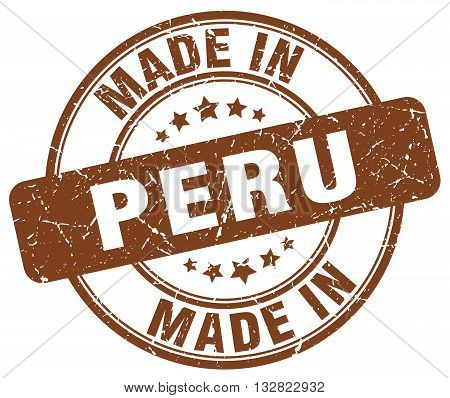 made in Peru brown round vintage stamp.Peru stamp.Peru seal.Peru tag.Peru.Peru sign.Peru.Peru label.stamp.made.in.made in.