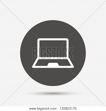 Laptop sign icon. Notebook pc symbol. Gray circle button with icon. Vector