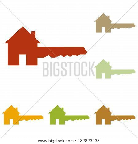 Home Key sign. Colorful autumn set of icons.