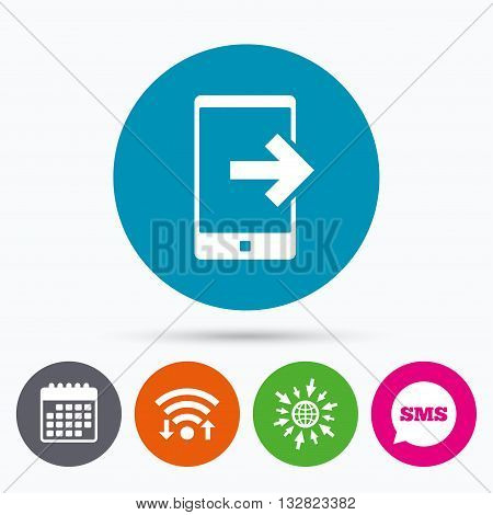Wifi, Sms and calendar icons. Outcoming call sign icon. Smartphone symbol. Go to web globe.