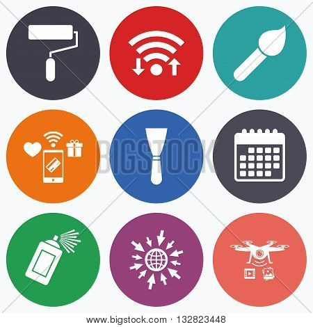 Wifi, mobile payments and drones icons. Paint roller, brush icons. Spray can and Spatula signs. Wall repair tool and painting symbol. Calendar symbol.