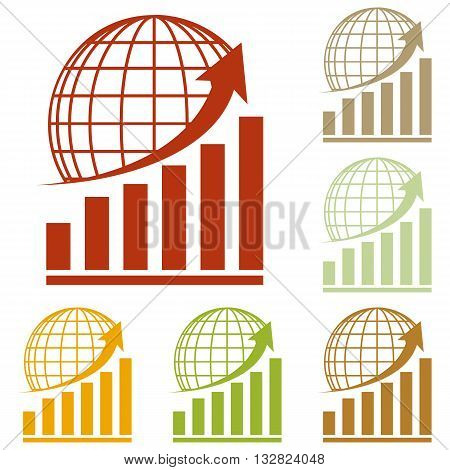 Growing graph with earth. Colorful autumn set of icons.