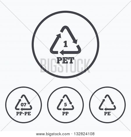 PET 1, PP-pe 07, PP 5 and PE icons. High-density Polyethylene terephthalate sign. Recycling symbol. Icons in circles.