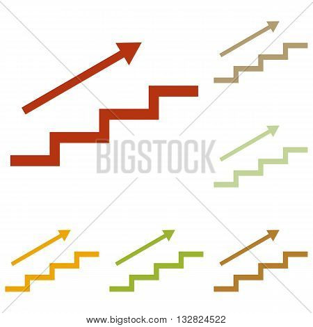 Stair with arrow. Colorful autumn set of icons.