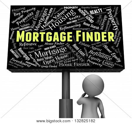 Mortgage Finder Represents Search For And Borrowing 3D Rendering