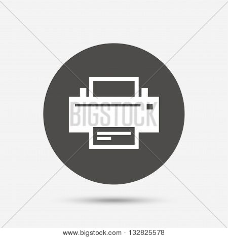 Print sign icon. Printing symbol. Print button. Gray circle button with icon. Vector