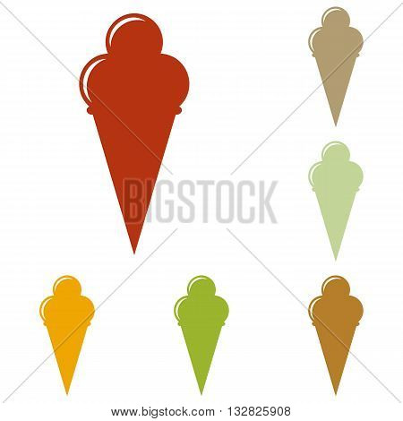 Ice Cream sign. Colorful autumn set of icons.