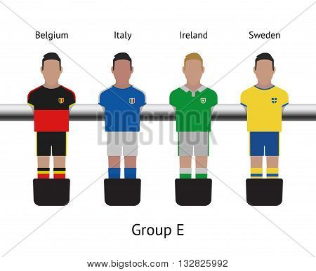 Table football game, Soccer table with players Football players kit. Soccer teams. Belgium, Italy, Ireland, Sweden