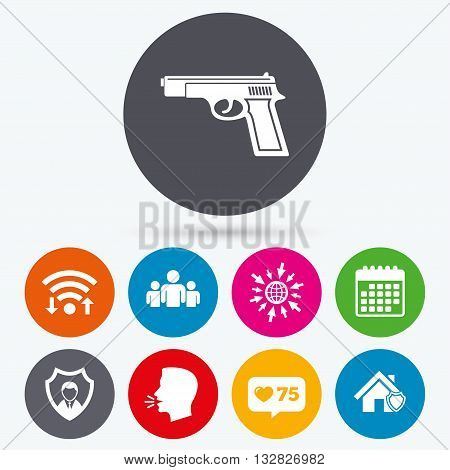 Wifi, like counter and calendar icons. Security agency icons. Home shield protection symbols. Gun weapon sign. Group of people or Share. Human talk, go to web.