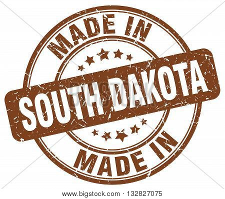 made in South Dakota brown round vintage stamp.South Dakota stamp.South Dakota seal.South Dakota tag.South Dakota.South Dakota sign.South.Dakota.South Dakota label.stamp.made.in.made in.