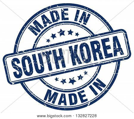 made in South Korea blue round vintage stamp.South Korea stamp.South Korea seal.South Korea tag.South Korea.South Korea sign.South.Korea.South Korea label.stamp.made.in.made in.