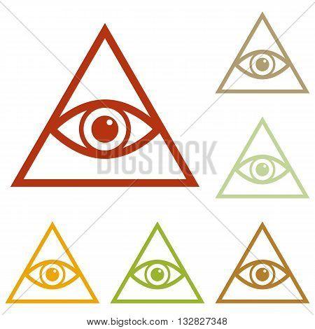 All seeing eye pyramid symbol. Freemason and spiritual. Colorful autumn set of icons.