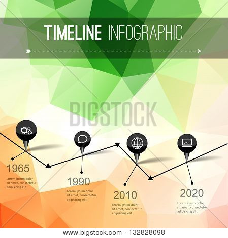 Infographic timeline design, concept - template with points. Idea to display information, ranking and statistics with orginal and modern style
