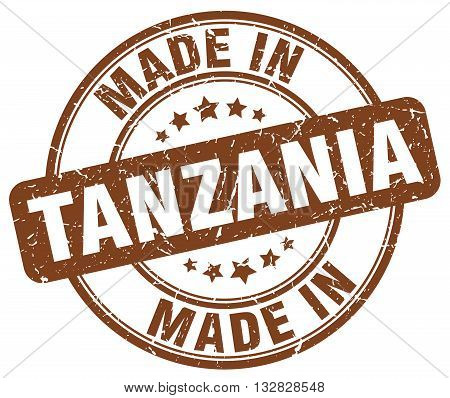 made in Tanzania brown round vintage stamp.Tanzania stamp.Tanzania seal.Tanzania tag.Tanzania.Tanzania sign.Tanzania.Tanzania label.stamp.made.in.made in.