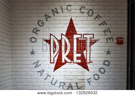 NEW YORK - CIRCA MARCH, 2016: inside Pret a Manger. Pret a Manger is a sandwich shop chain based in the United Kingdom