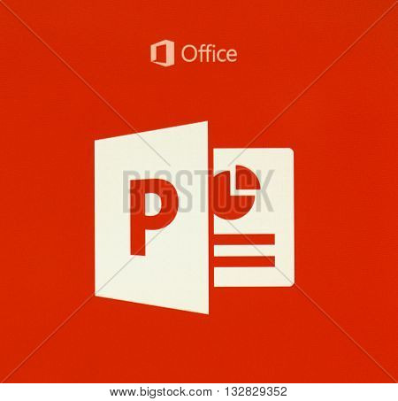 MONTREAL CANADA - MAY 23 2016 - Microsoft Office PowerPoint logo on a cellphone screen. Microsoft PowerPoint is a slide show presentation program currently developed by Microsoft.