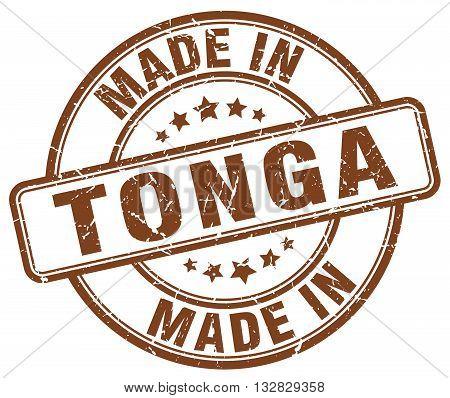 made in Tonga brown round vintage stamp.Tonga stamp.Tonga seal.Tonga tag.Tonga.Tonga sign.Tonga.Tonga label.stamp.made.in.made in.