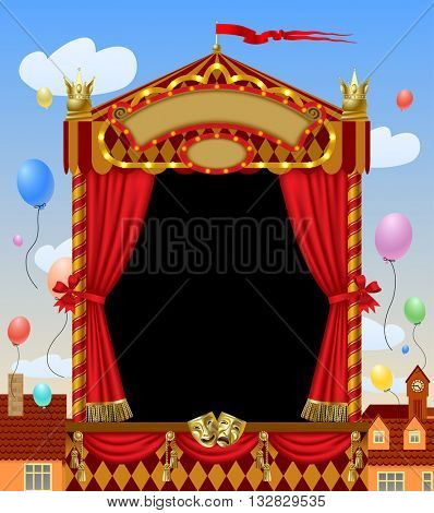 Puppet show booth with theater masks, red curtain, illuminated signboards width city view and colorful balloons in the sky. Artistic and theatrical poster and template design