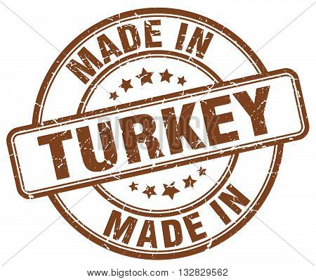 made in Turkey brown round vintage stamp.Turkey stamp.Turkey seal.Turkey tag.Turkey.Turkey sign.Turkey.Turkey label.stamp.made.in.made in.