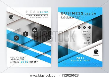 Blue Annual Report Brochure A Vector  Photo  Bigstock
