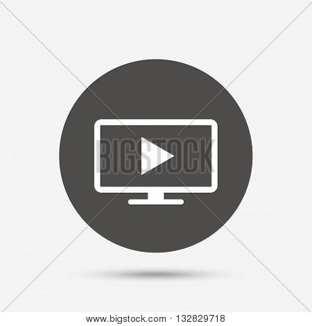 Widescreen TV mode sign icon. Television set symbol. Gray circle button with icon. Vector