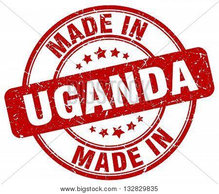 made in Uganda red round vintage stamp.Uganda stamp.Uganda seal.Uganda tag.Uganda.Uganda sign.Uganda.Uganda label.stamp.made.in.made in.