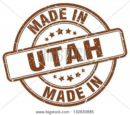 made in Utah brown round vintage stamp.Utah stamp.Utah seal.Utah tag.Utah.Utah sign.Utah.Utah label.stamp.made.in.made in.