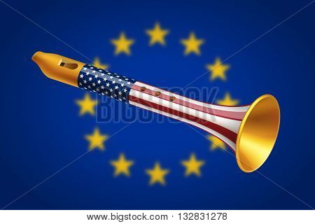 Golden fife with USA flag on blurred European Union flag background. Geopolitical interaction of USA and EU and foreign policy concept