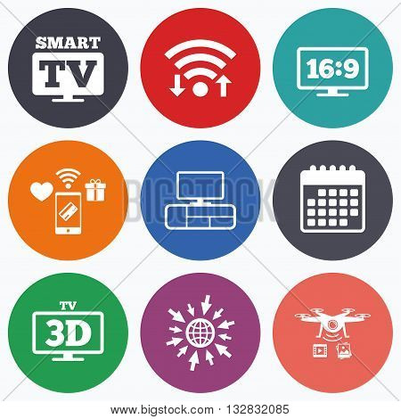 Wifi, mobile payments and drones icons. Smart TV mode icon. Aspect ratio 16:9 widescreen symbol. 3D Television and TV table signs. Calendar symbol.