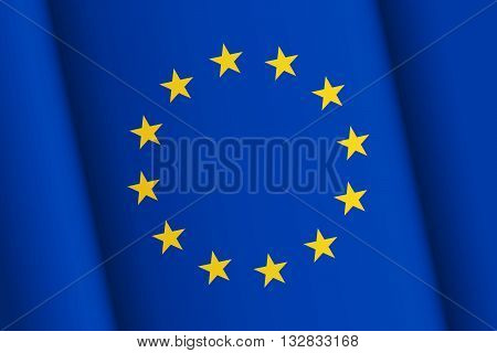Flag of European Union inclined wavy surface with chiaroscuro smooth transitions