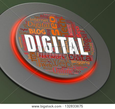 Digital Button Indicates High Tec And Computers 3D Rendering