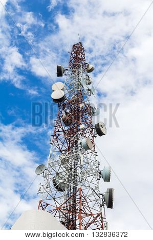 telecommunications tower with a blue sky background