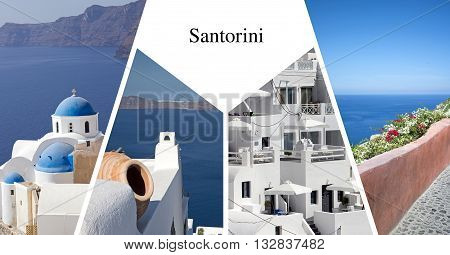 Post card with four landmark of Santorini island, Greece