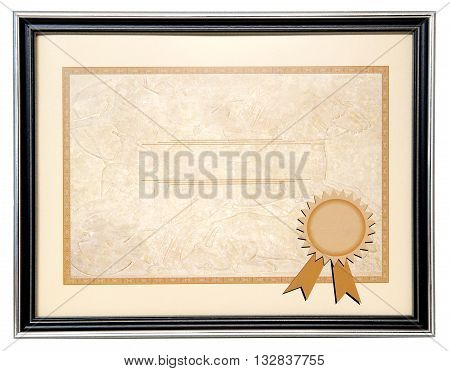 Blank paper diploma in a black frame