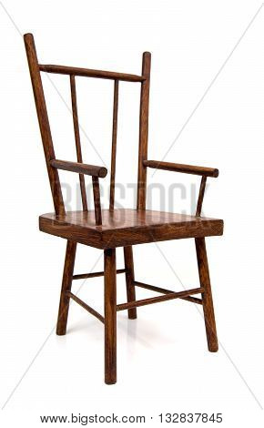 Old wooden chair isolated over a white background