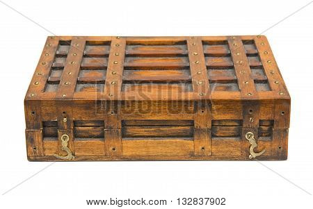 Vintage wooden box isolated over white background