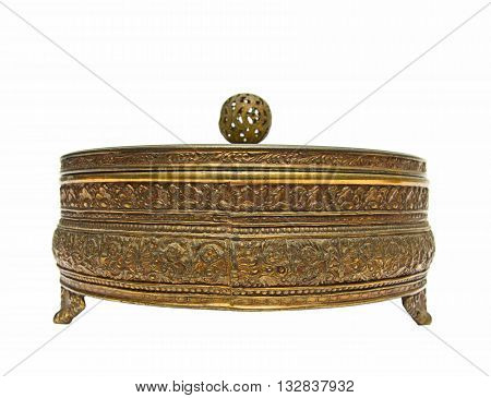 Old golden jewelry box isolated on a white background