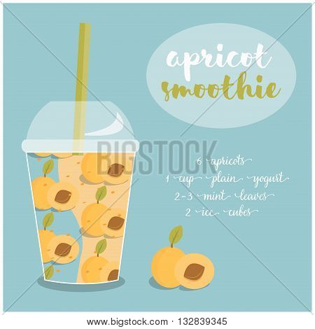 Vector illustration of Apricot Smoothie recipe with ingredients. Template for restaurant or cafe menu.Smoothie isolated,Smoothie recipe,Smoothie glass,Smoothie vector,Smoothie fruit,Smoothie breakfast