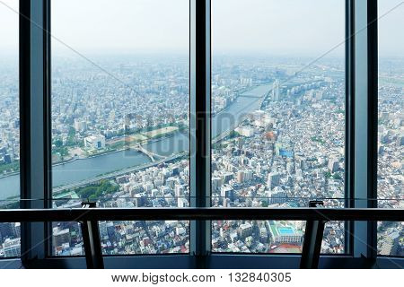 Japan Tokyo city top view from the skytree tower