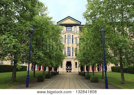 CAMBRIDGE, UK - JUNE 14, 2014: University campus at Cambridge on June 14, 2014 in Cambridge, UK. It is a landmark university in England.