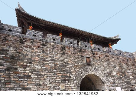 SHENZHEN, CHINA - MARCH 28, 2016: Dapeng Fortress on March 28, 2016 in Shenzhen, China. Dapeng Fortress is a historic landmark walled village in Guangdong