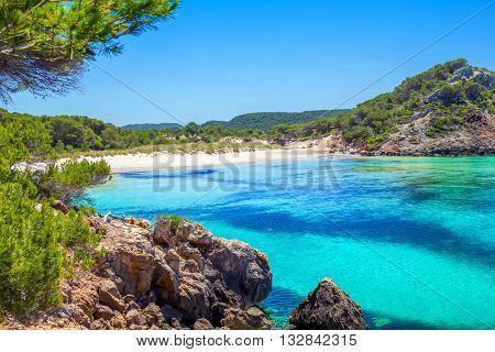 Platja des Bot beach in summer sunny day at Menorca Island, Balearic Islands, Spain.