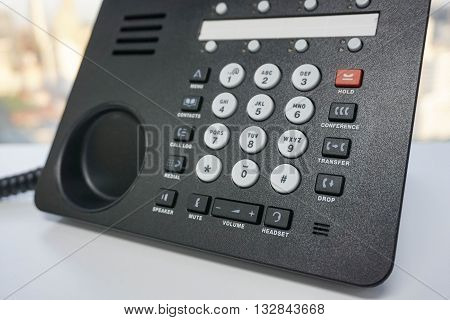 Close up IP phone with numeric keypad