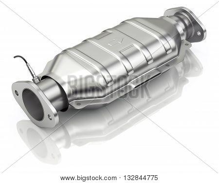 Catalytic converter with sensor flue gas (lambda sensor) on white background - 3D illustration poster