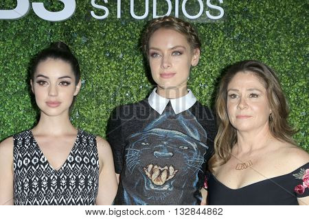LOS ANGELES - JUN 2:  Adelaide Kane, Rachel Skarsten, Megan Follows at the 4th Annual CBS Television Studios Summer Soiree at the Palihouse on June 2, 2016 in West Hollywood, CA