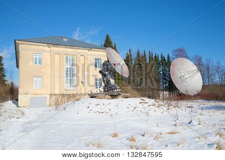 SAINT PETERSBURG, RUSSIA - FEBRUARY 17, 2016: Two radio telescope at the building of the astrophysical Observatory of the Russian Academy of Sciences. Pulkovo Observatory, Saint-Petersburg