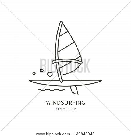 Windsurfing. Linear Vector label design sail and windsurf board. Isolated background. Concept of an active summer holiday. Family holiday