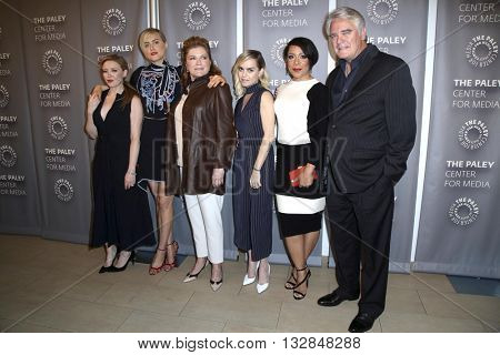 LOS ANGELES - MAY 26:  Natasha Lyonne, Taylor Schilling, Kate Mulgrew, Taryn Manning, Selenis Leyva, Michael Harney at the Paley Presents OITNB at the Paley Center on May 26, 2016 in Beverly Hills, CA