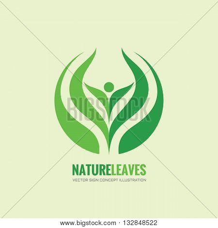 Nature leaves - vector logo concept illustration. Organic logo. Abstract human sign. Vector logo template. Design element.