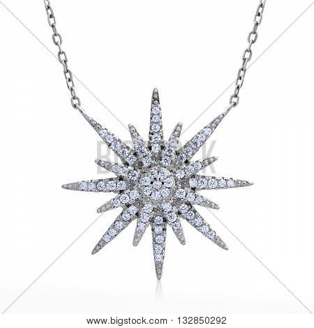 Close-up Pendant With Diamonds On A Chain